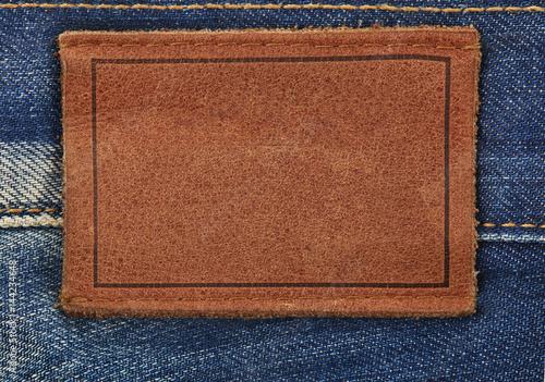 Fotobehang Stof Jeans label