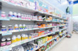 blur background of of drug and vitamin store.