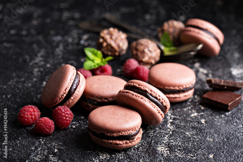 Aluminium Prints Macarons Chocolate and raspberry french macarons with ganache filling