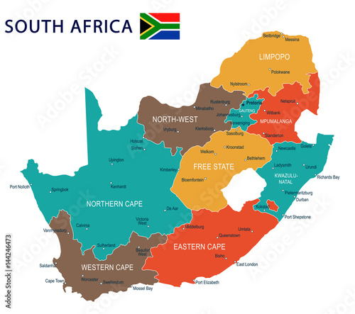 South Africa - map and flag - illustration Wallpaper Mural