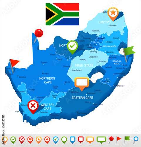 Fototapeta South Africa - map and flag - illustration
