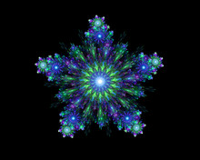 Abstract Fractal Symmetrical Colorful Snowflakes