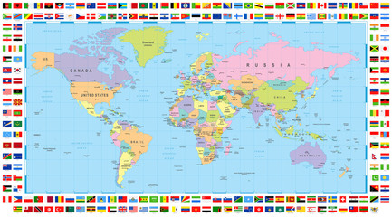 Fototapeta Mapy Colored World Map and Flags