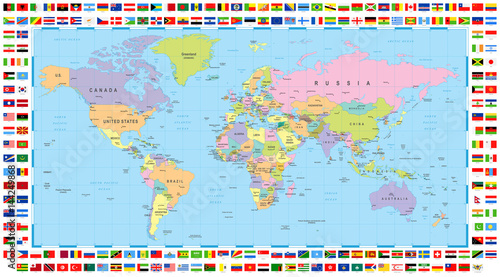 Colored world map and flags buy this stock vector and explore colored world map and flags gumiabroncs Gallery