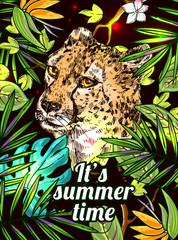 Panel Szklany Boho sketch illustration cheetah