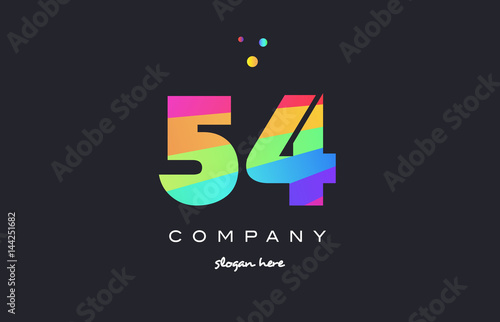 Fotografia  54 fifty four colored rainbow creative number digit numeral logo icon