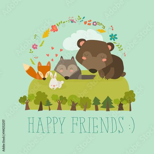 Happy friends in the forest. Bear,fox,rabbit wolf
