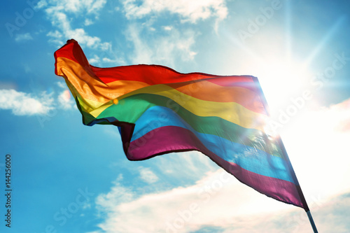 Fotomural  Gay flag on sky background