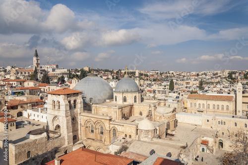 Zdjęcie XXL Widok na Kościół Grobu Świętego i Dzielnicę chrześcijańską (Izrael)