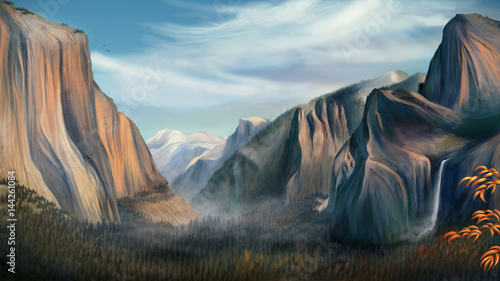 Yosemite - Digital Painting Canvas Print