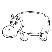 Cartoon Animal, Cute Hippo On ...