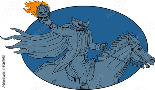 Headless Horseman Pumpkin Head Horse Oval Drawing Wallpaper Mural