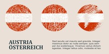 Austria Flag Design Concept. Flags Collection Textured In Grunge Style With Country Name. Image Relative To Travel And Politic Themes. Translation Of The Inscription: Austria
