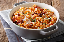 Spicy Baked Pasta With Tomato, Bacon And Parmesan Cheese Close-up. Horizontal
