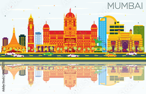 Mumbai Skyline with Color Buildings, Blue Sky and Reflections. Wallpaper Mural