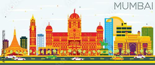 Mumbai Skyline with Color Buildings and Blue Sky. Canvas Print