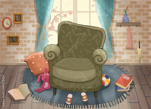 Aluminium Prints Superheroes Cute Living Room. Video Game's Digital CG Artwork, Concept Illustration, Realistic Cartoon Style Background