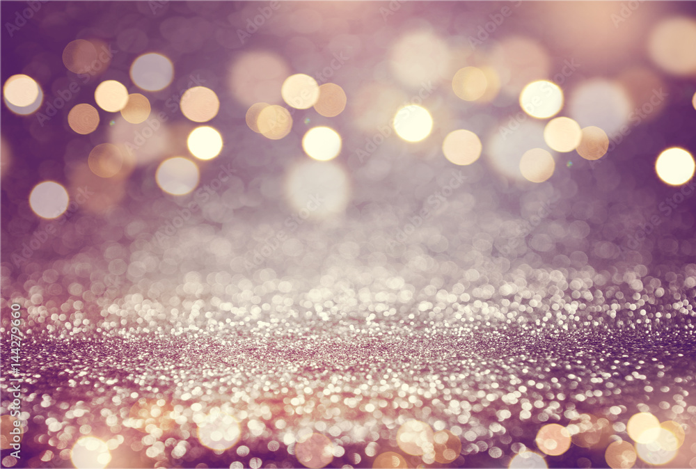 Fototapety, obrazy: Pink or purple glitter and gold lights bokeh background. defocused