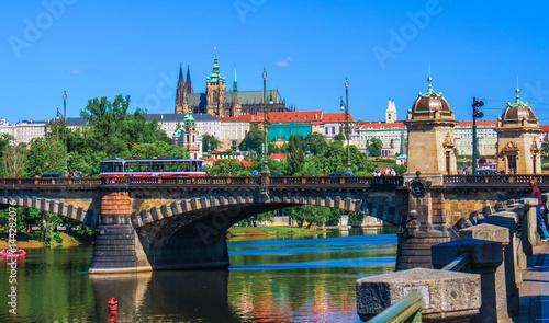 Plakat Katedra św. Wita z częścią zespołu pałacowego Hradczany Praga. Republika Czeska