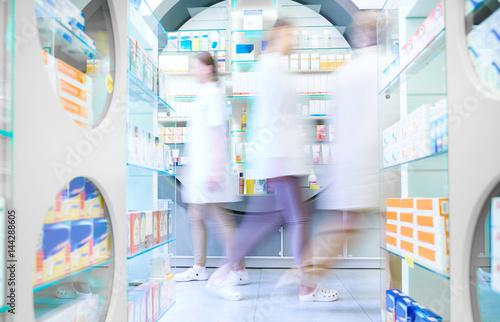 Poster Pharmacie Blurred scene of pharmacy store