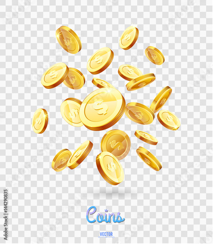 Realistic Gold Coins Falling Down Isolated On Transparent Background