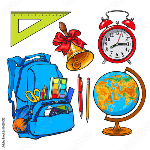 Backpack Packed With School Items Supplies Stationary Alarm Clock