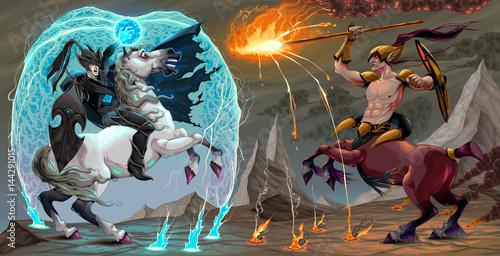 Staande foto Kinderkamer .Fighting scene between dark elf and centaur