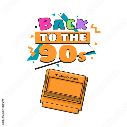 Memphis Retro Style Back To The 90s Poster Template With Tv Game