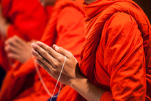 Pray Of Monks Of Buddhist In Thailand
