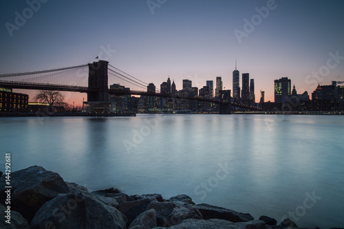 Manhattan sunset view from dumbo location Poster