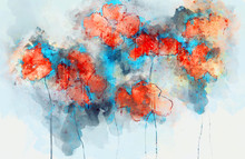 Abstract Red Poppy Flowers On Splashed Watercolor Background, Digital Watercolor Painting
