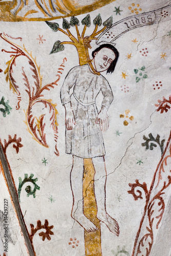 Fotografering Fresco of the suicide of Judas Iscariot, hanging in a tree,