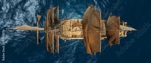 Fotomural  Schiffsansicht aus der Vogelperspektive