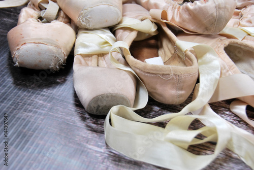 Photo  Old ballet shoes for classical dance