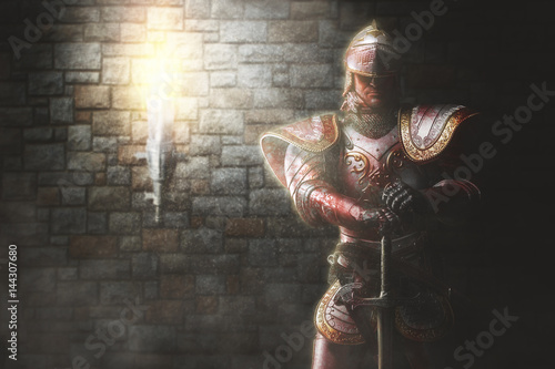 Photo  Portrait of a medieval knight.