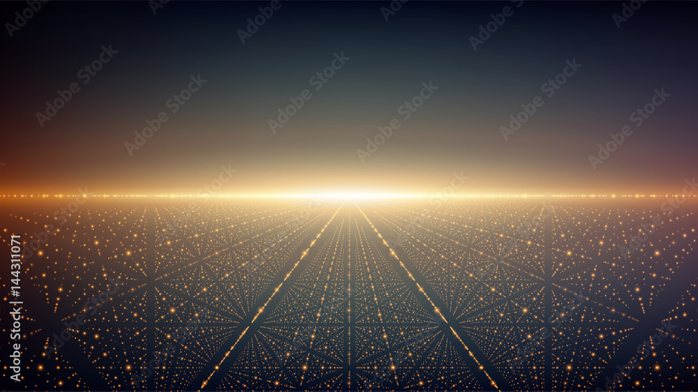 Fototapeta Abstract vector background. Glowing stars with illusion of depth and perspective. Abstract futuristic space background