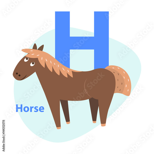 Valokuva  Cute Brown Horse on Alphabet Icon Flat Design