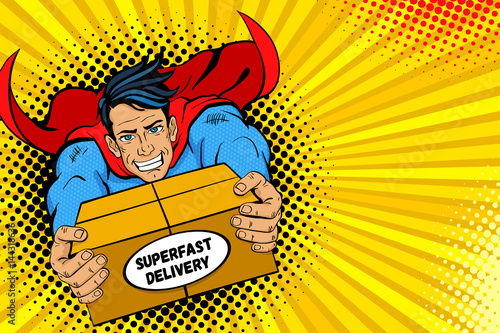 Fototapety Pop Art   pop-art-superhero-young-handsome-happy-man-in-a-superhero-costume-flies-holding-big-box-with