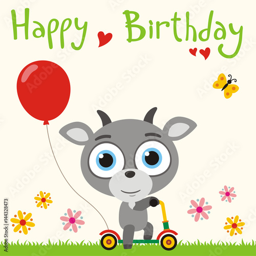 Happy birthday! Funny goat going on scooter with red balloon. Birthday card with little
