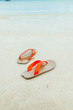 sandal on the beach summer vacation concept of travel