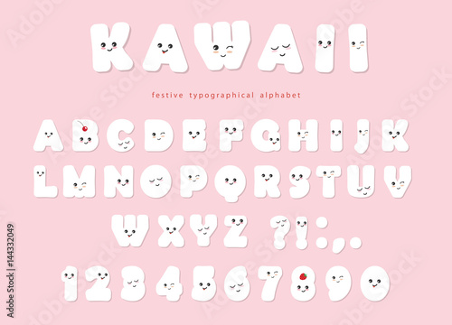 Photo  Paper cut out kawaii font with funny smiling faces