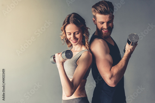 Beautiful young sports couple Canvas Print