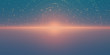 Vector infinite space background. Matrix of glowing stars with illusion of depth and perspective. Abstract cyber fiery sunrise over sea. Abstract futuristic universe on blue background.