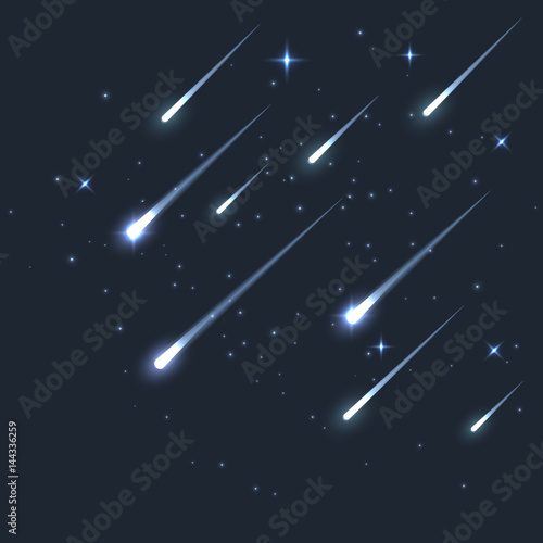 Obraz Vector star meteor falling in dark. Comet or asteroid science background. Galaxy astronomy background illustration - fototapety do salonu