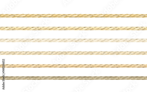 Fototapeta Set or organic look linen string vector in 6 types of coloring. Seamless pattern of neat realistic flax material texture cords. obraz
