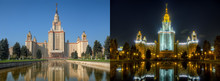 Day And Night Series: Lomonosov Moscow State University. This Is Two High Dynamic Range (HDR) Photos Of Same Location From Same Point Of Shoot.