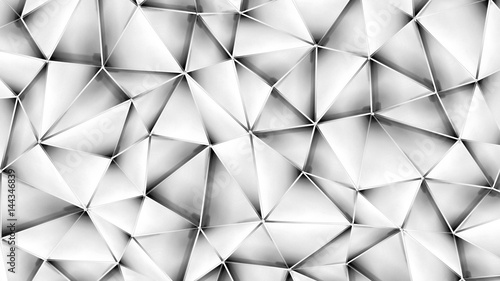Abstract geometric background. 3D illustration..Polygonal glossy surface - 144346839