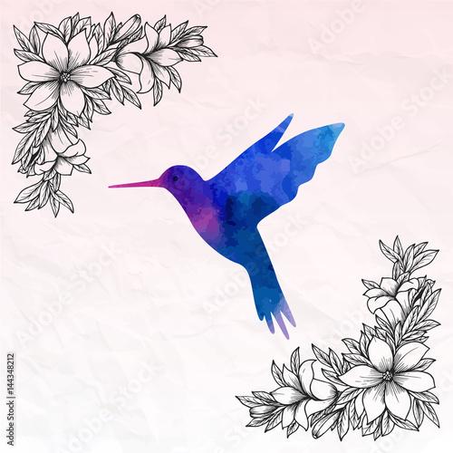 Poster Geometric animals Hummingbird watercolor