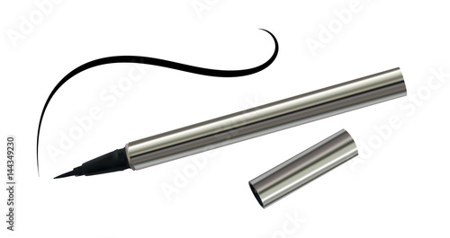 Fotografija Black Eyeliner in a Chrome Case with Thin Line Isolated
