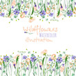 Leinwanddruck Bild - Frame border with wildflowers, eustoma and cornflowers, hand drawn in watercolor on a white background